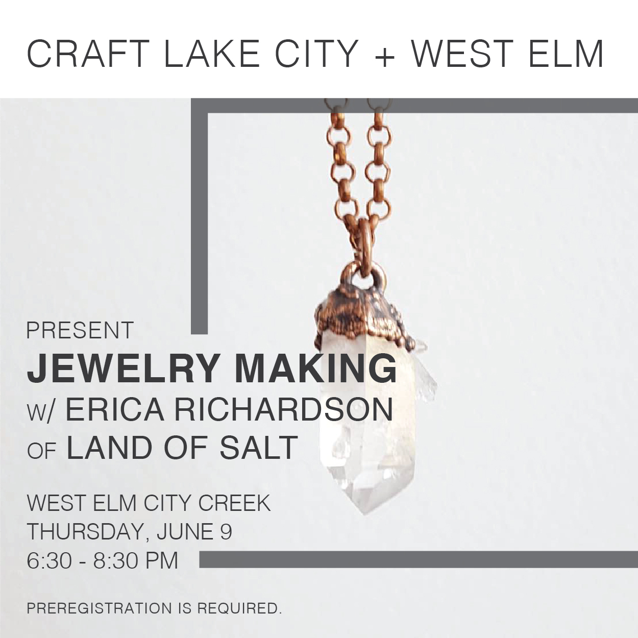 Craft lake city and west elm presents jewelry workshop for Jewelry making classes salt lake city