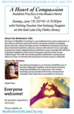"""""""A Heart of Compassion"""" with Gen Kelsang Tsoglam – Buddhist Practice in the Modern World"""