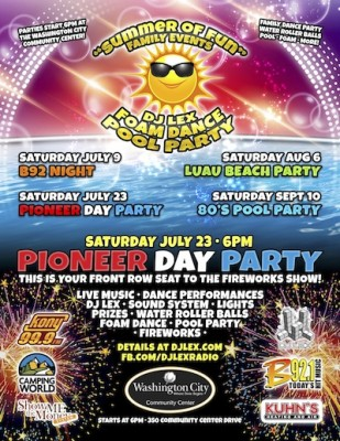 Pioneer Day Pool Party and Fireworks Show