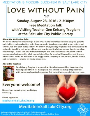 """Love without Pain"", with Gen Kelsang Tsoglam"