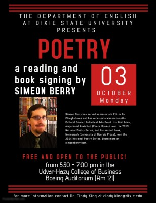 POETRY: A reading and book signing by Simeon Berry