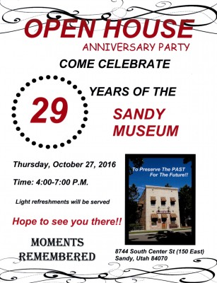 Sandy Museum's 29th Anniversary Open House
