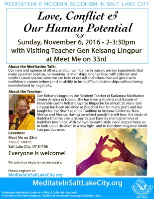"""""""Love, Conflict & Our Human Potential"""" with Gen Kelsang Lingpur"""
