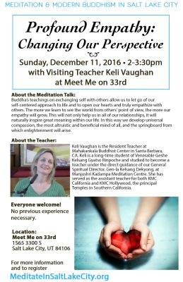 "Public Meditation Talk ""Profound Empathy: Changing our Perspective"" with Keli Vaughan"