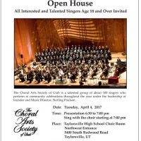 Choral Arts Society of Utah Open House/Open Rehearsal
