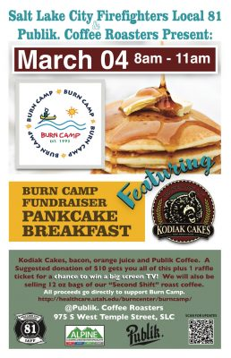 Pancake Breakfast Fundraiser, Hosted by Salt Lake City Firefighters Local 81 and Publik Coffee