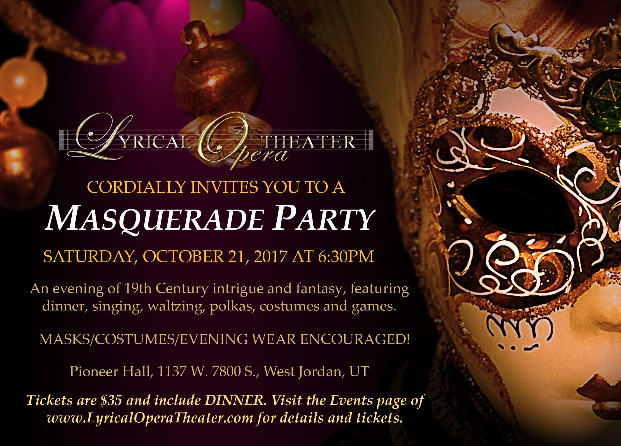 Masquerade Party Presented By Lyrical Opera Theater