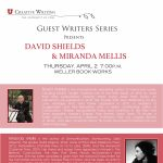 David Shields and Miranda Mellis Reading CANCELLED