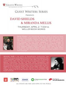 David Shields and Miranda Mellis Reading CANCELLED...