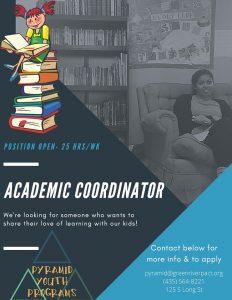 Pyramid Youth Programs Academic Coordinator