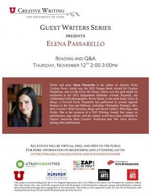 Guest Writers Series with Elena Passarello