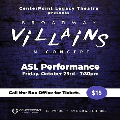 ASL performance of Broadway Villains in Concert