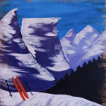 Painting at The Peaks: Antique Skis