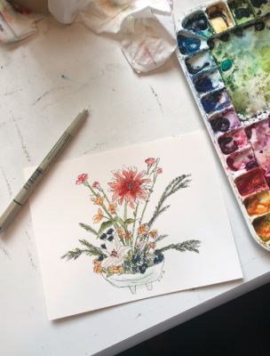 Watercolor Basics Lesson #3: Watercolor and Ink