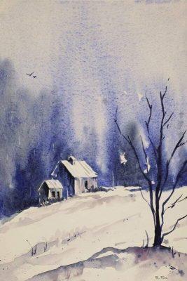 Watercolor Basics: Miniature Winter Scene